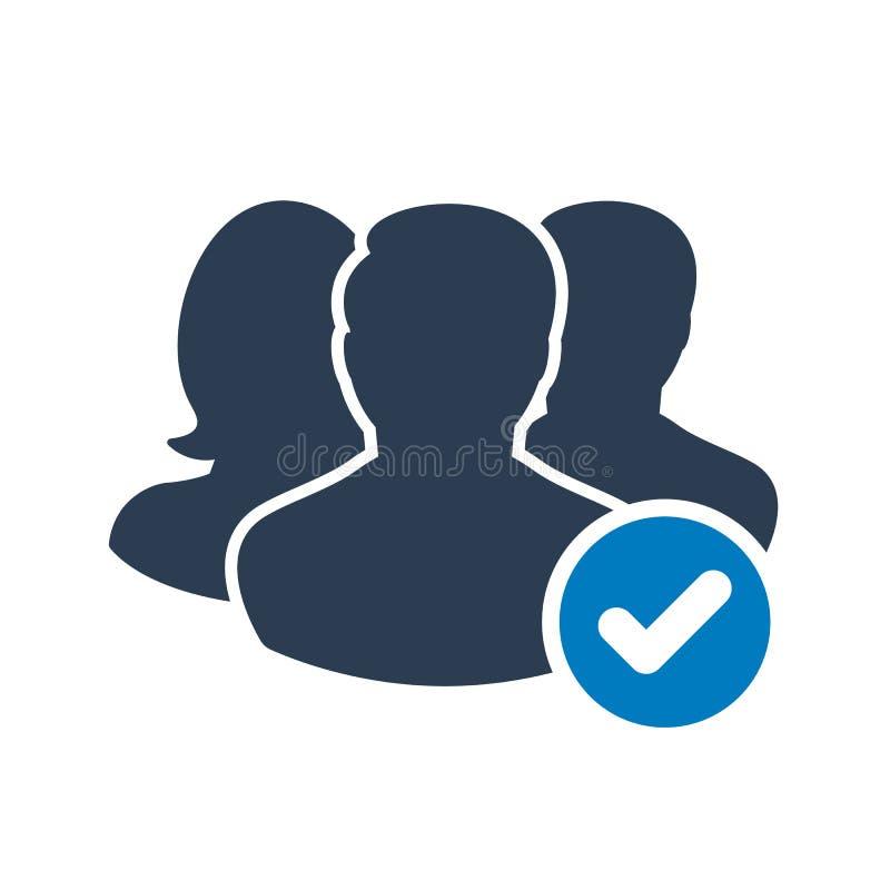 Icona del gruppo con il segno del controllo L'icona del gruppo ed approvato, conferma, fatto, segno di spunta, simbolo completato illustrazione vettoriale