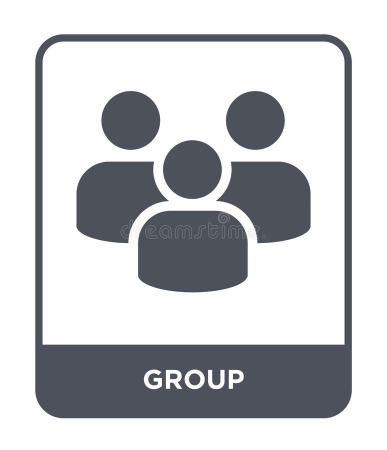 icona del gruppo nello stile d'avanguardia di progettazione Icona del gruppo isolata su fondo bianco simbolo piano semplice e mod illustrazione vettoriale