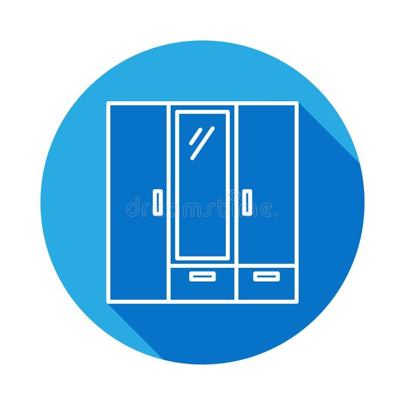 icona del guardaroba con ombra Elemento di mobilia per i apps mobili di web e di concetto Linea sottile icona per progettazione e illustrazione vettoriale
