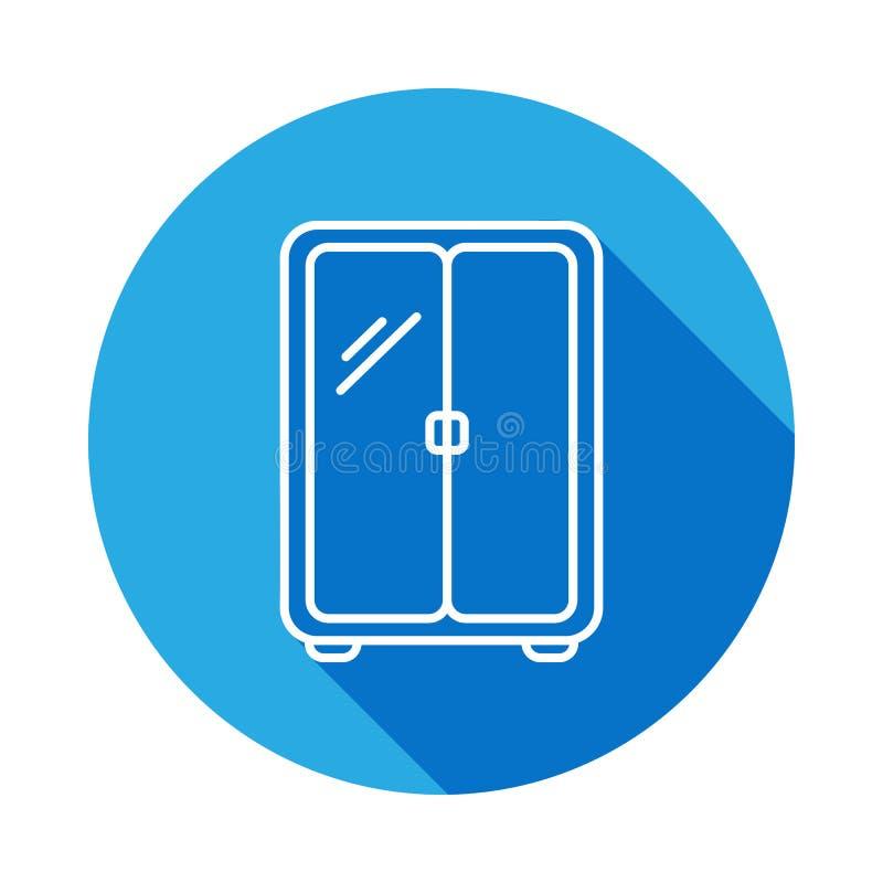 icona del guardaroba con ombra Elemento di mobilia per i apps mobili di web e di concetto Linea sottile icona per progettazione e illustrazione di stock