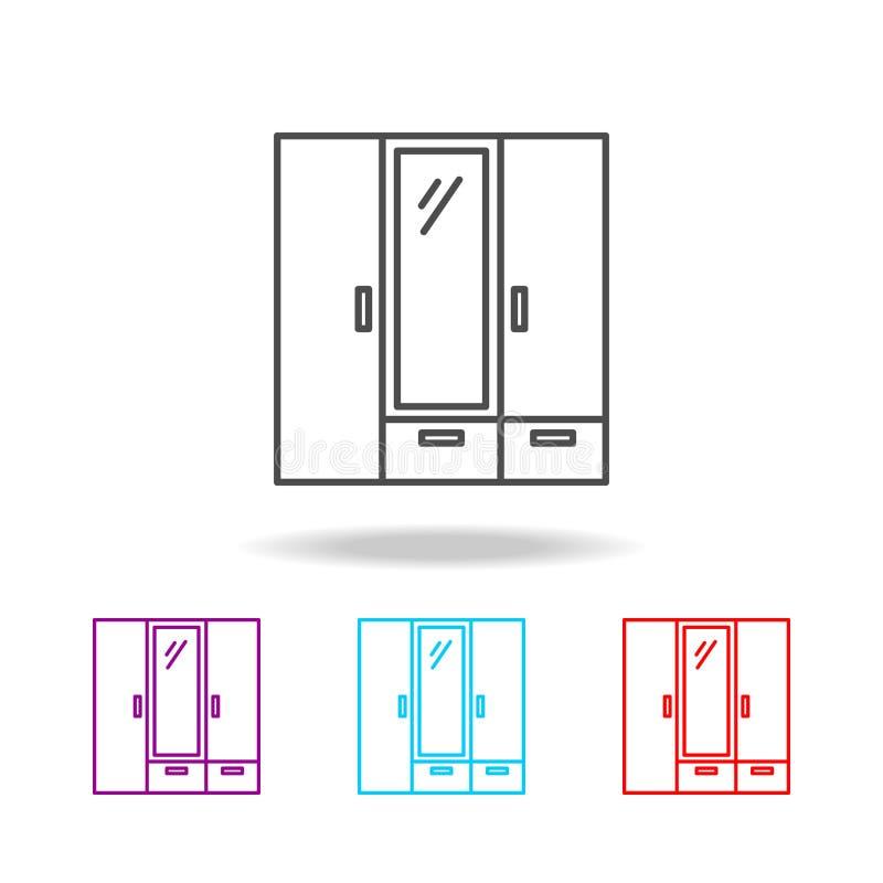 Icona del guardaroba Elementi di mobilia nelle multi icone colorate Icona premio di progettazione grafica di qualità Icona sempli royalty illustrazione gratis