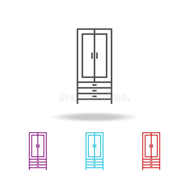 Icona del guardaroba Elementi di mobilia nelle multi icone colorate Icona premio di progettazione grafica di qualità Icona sempli illustrazione vettoriale