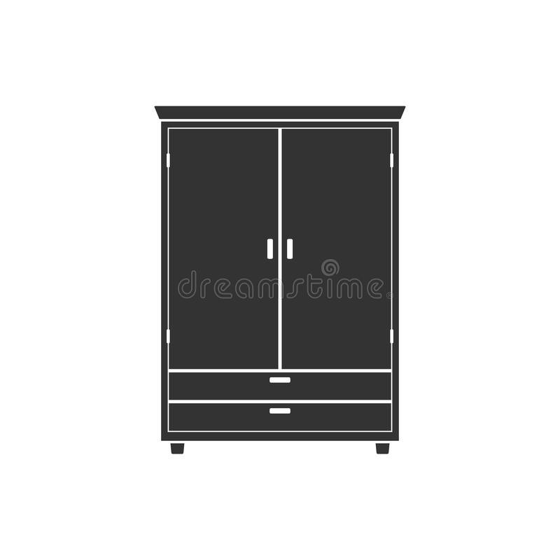 Icona del guardaroba isolata su fondo Mobilia di legno naturale Gabinetto interno dell'elemento della stanza per creare gli appar illustrazione di stock