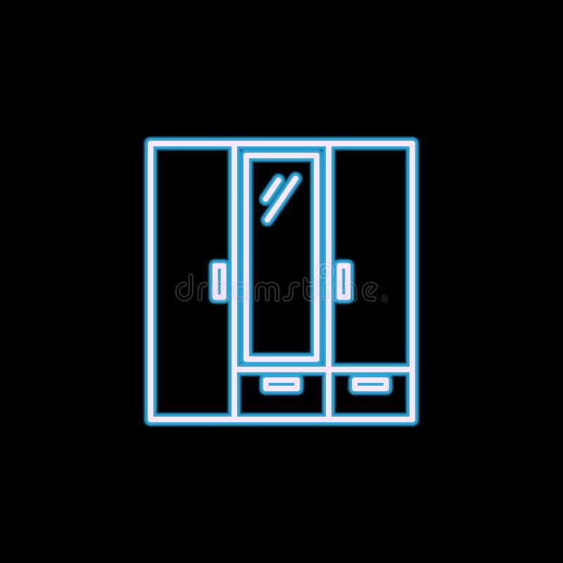 icona del guardaroba nello stile al neon Uno dell'icona della raccolta della mobilia può essere usato per UI, UX illustrazione vettoriale