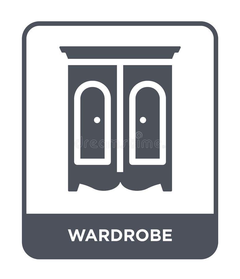 icona del guardaroba nello stile d'avanguardia di progettazione Icona del guardaroba isolata su fondo bianco piano semplice e mod royalty illustrazione gratis