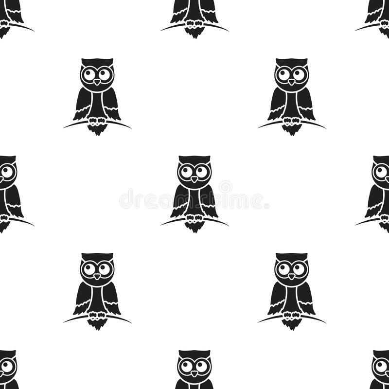 Icona del gufo nello stile nero isolata su fondo bianco Illustrazione di vettore delle azione del modello degli animali illustrazione di stock