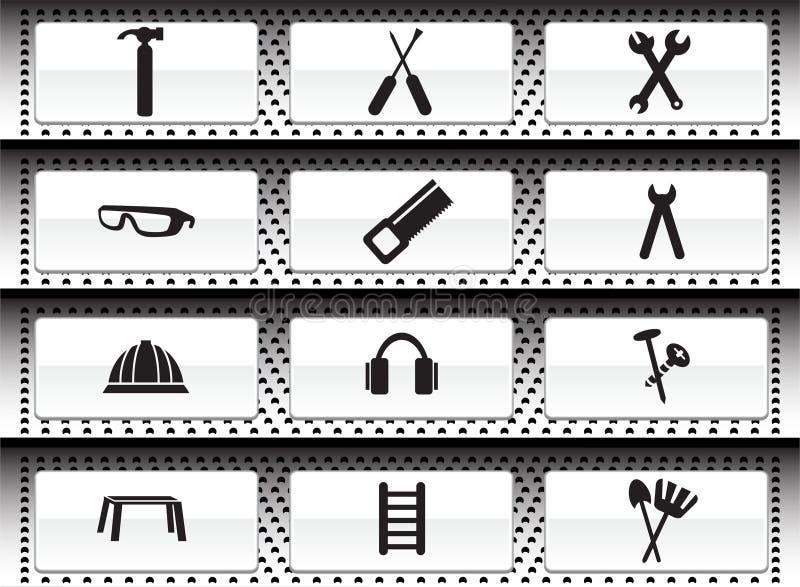 Icona del hardware impostata: Serie del tasto di Web illustrazione di stock