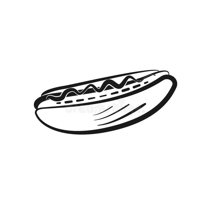 Icona del hot dog del profilo isolata il nero illustrazione vettoriale