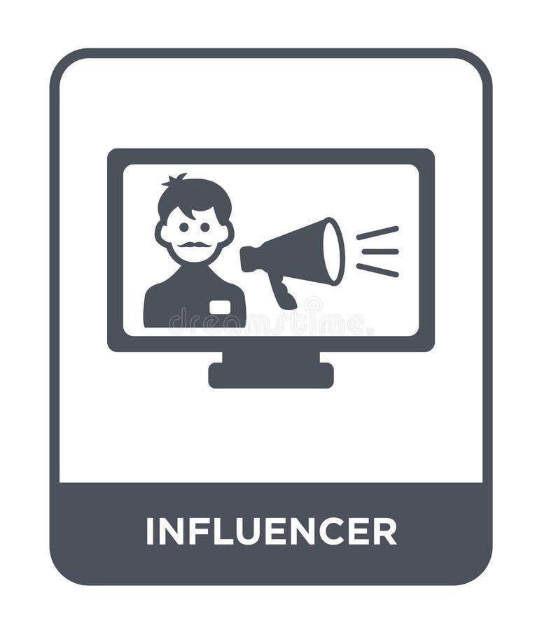 icona del influencer nello stile d'avanguardia di progettazione icona del influencer isolata su fondo bianco icona di vettore del illustrazione vettoriale