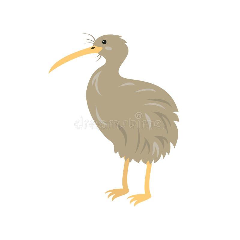 Icona del kiwi del fumetto su fondo bianco royalty illustrazione gratis
