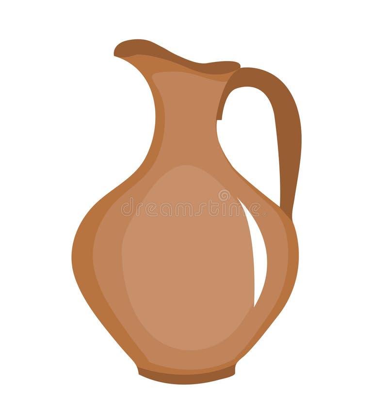 Icona del lanciatore dell'argilla Brocca di Brown, stile piano Brocca su fondo bianco Logo del lanciatore Illustrazione di vettor illustrazione di stock