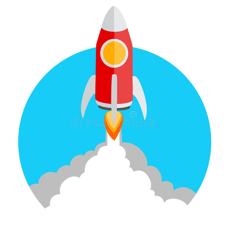 Icona del lancio del razzo dell'illustrazione di vettore con lo spazio della copia royalty illustrazione gratis