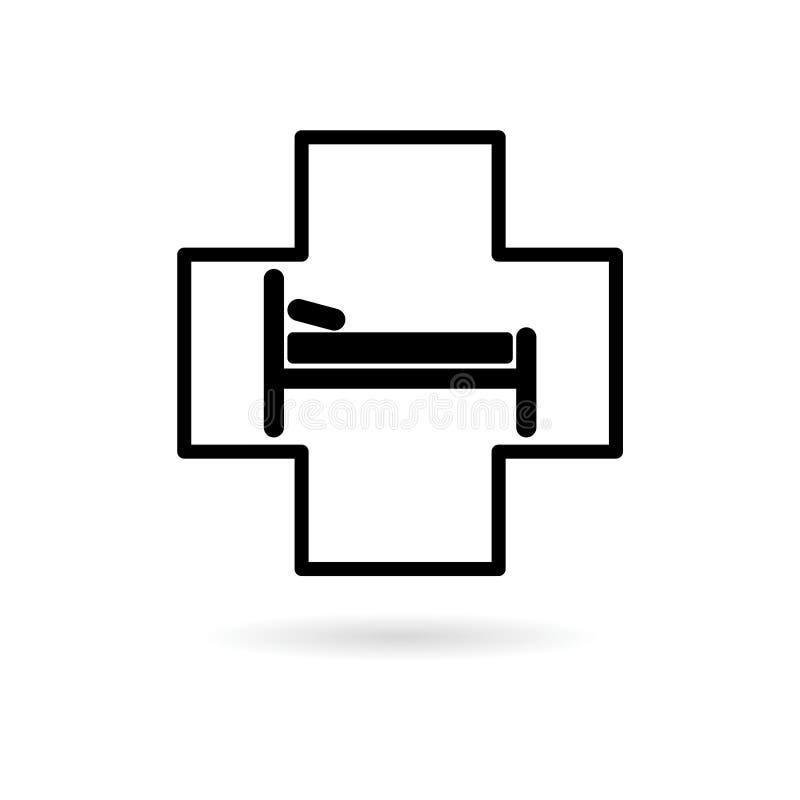 Icona del letto di ospedale, segno dell'hotel illustrazione di stock