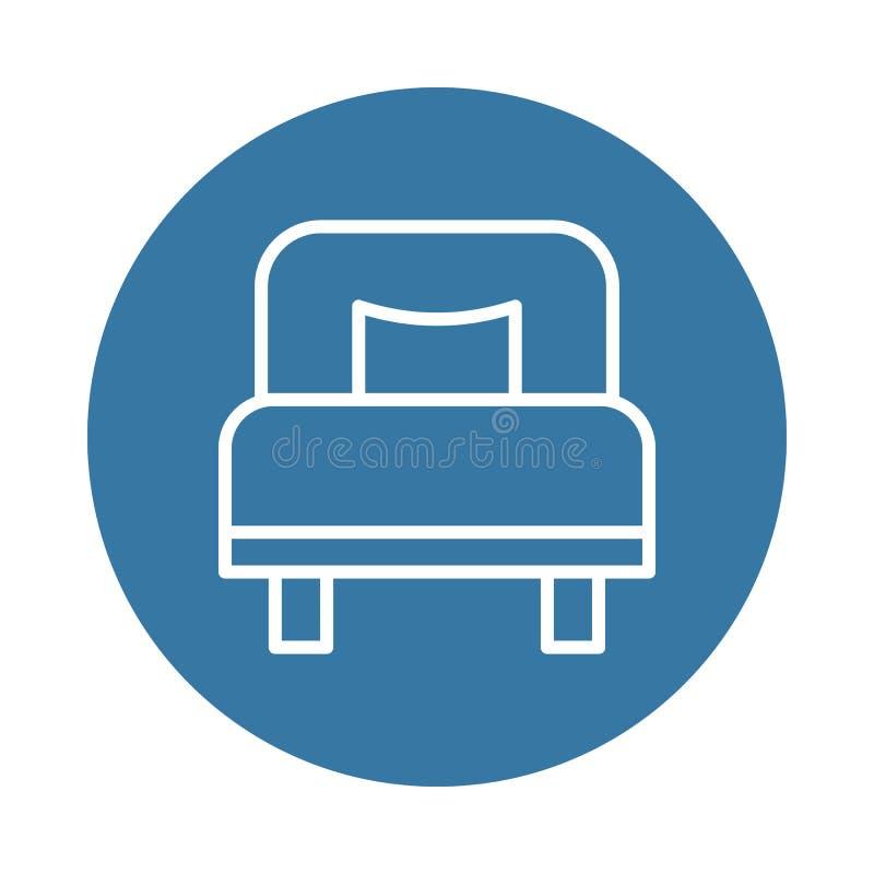 icona del letto singolo Elemento delle icone dell'hotel per i apps mobili di web e di concetto L'icona del letto singolo di stile illustrazione di stock