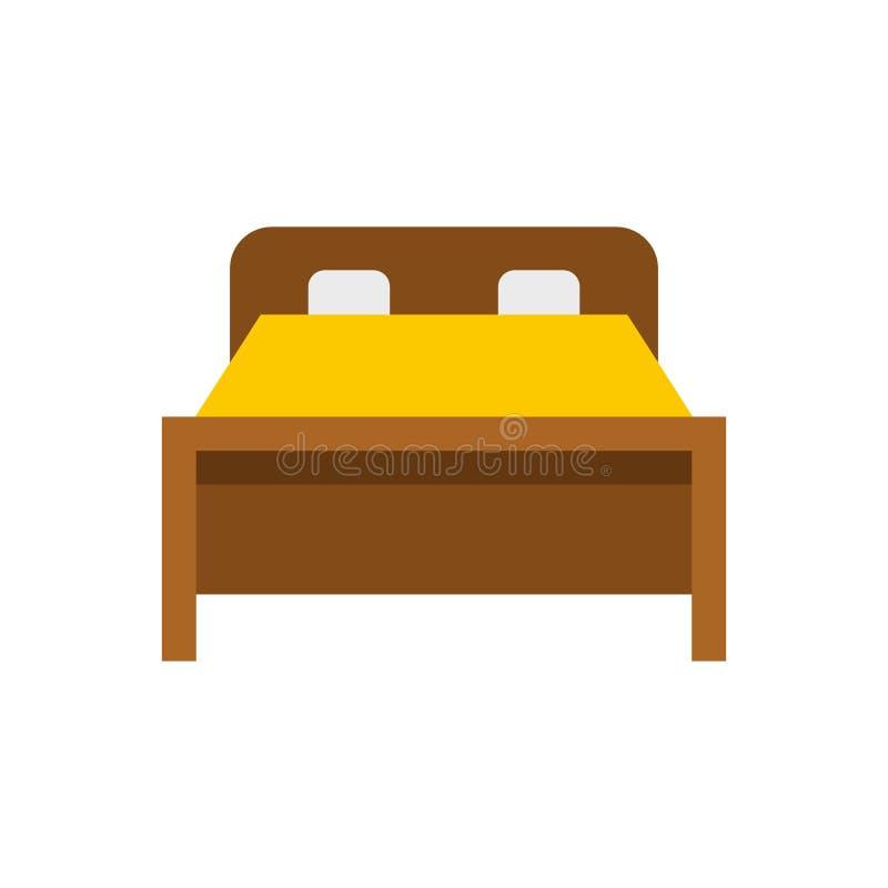 Icona del letto, stile piano illustrazione di stock