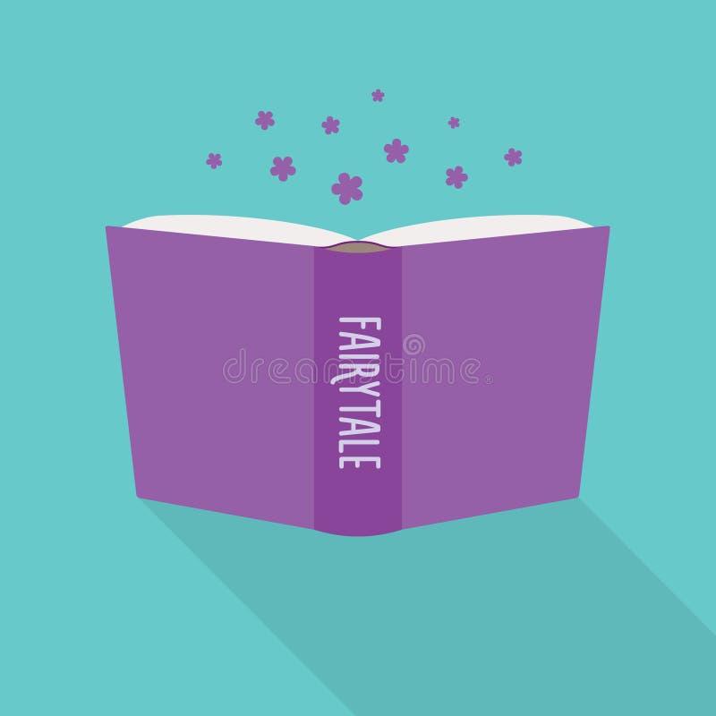 Icona del libro aperto Concetto della favola, genere letterario di romanzo illustrazione vettoriale