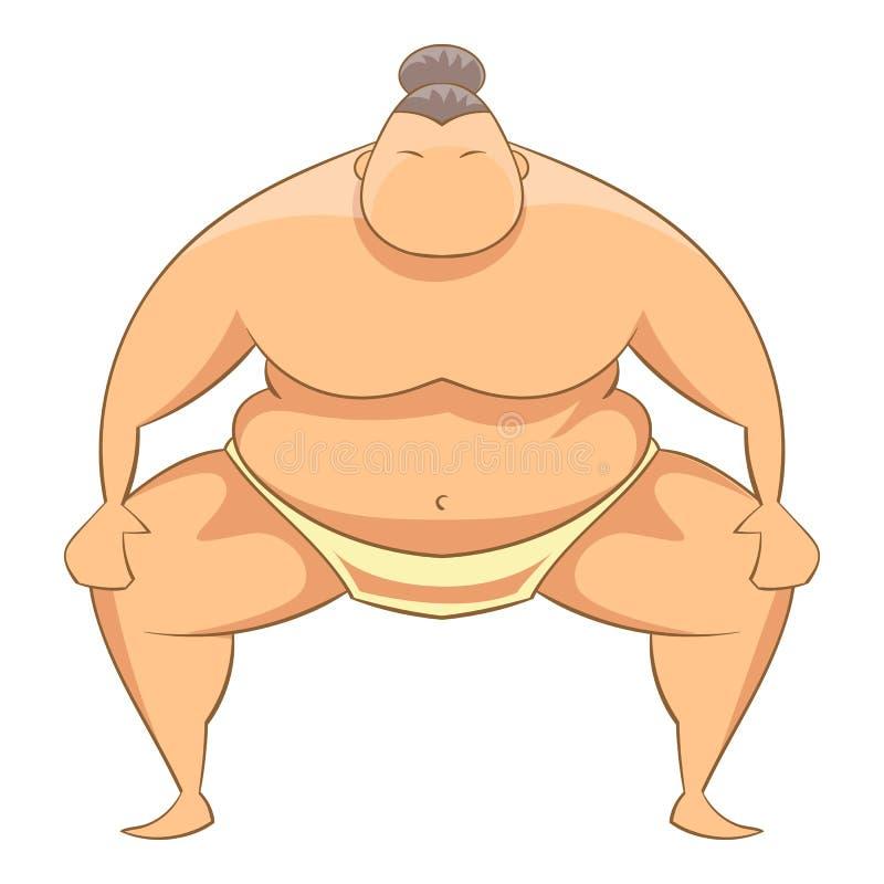 Icona del lottatore di sumo, stile del fumetto royalty illustrazione gratis