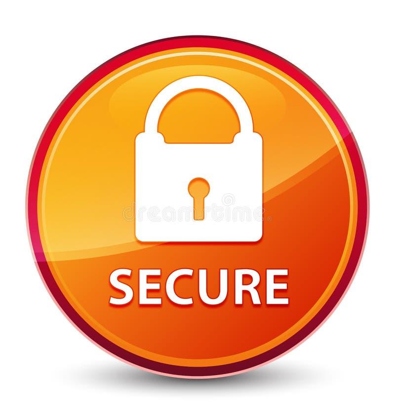 (Icona del lucchetto) bottone rotondo arancio vetroso speciale sicuro illustrazione di stock
