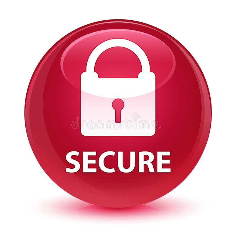 (Icona del lucchetto) bottone rotondo rosa vetroso sicuro illustrazione vettoriale