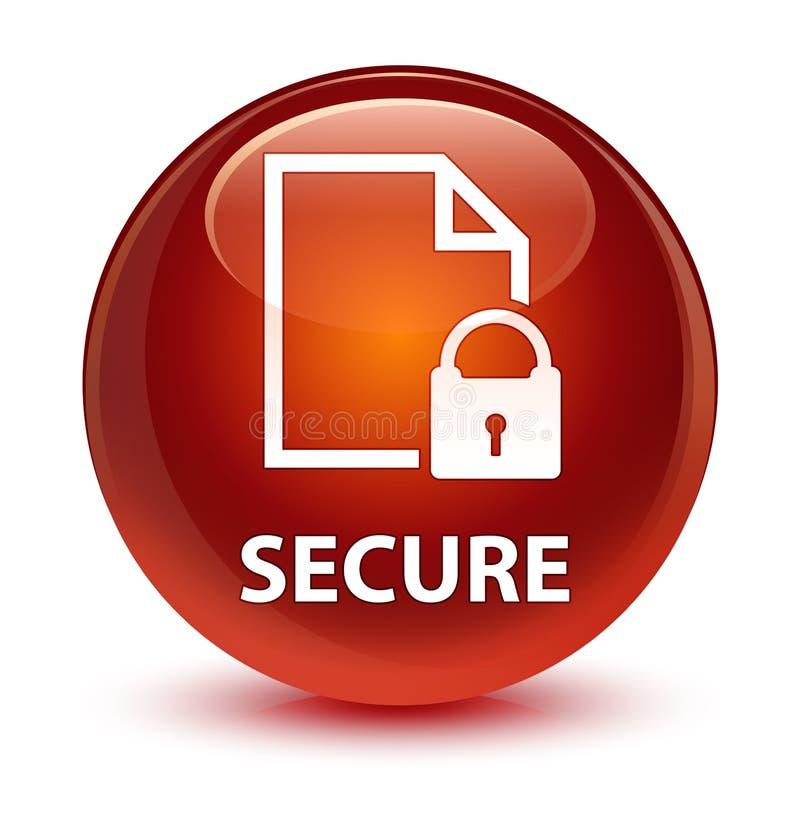 (Icona del lucchetto della pagina del documento) bottone rotondo marrone vetroso sicuro royalty illustrazione gratis