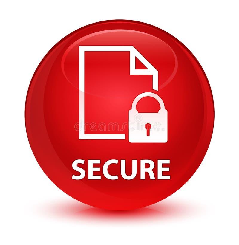 (Icona del lucchetto della pagina del documento) bottone rotondo rosso vetroso sicuro illustrazione di stock
