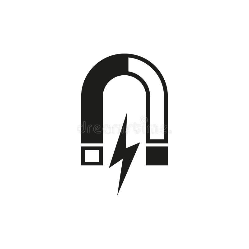 Icona del magnete Magnetico ed attiri, simbolo di fisica Progettazione piana Azione - vettore royalty illustrazione gratis