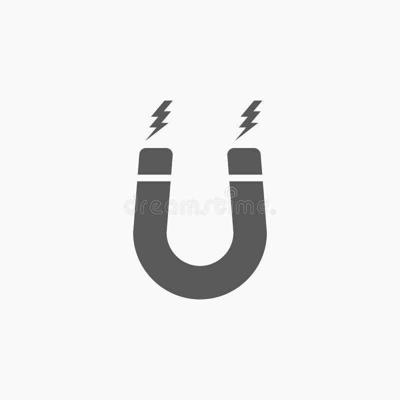 Icona del magnete, magnetico, a ferro di cavallo, segno illustrazione vettoriale