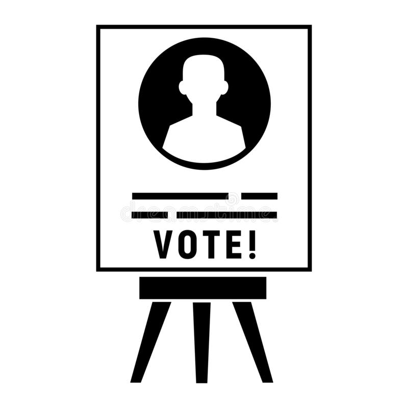 Icona del manifesto del candidato di voto, stile semplice illustrazione vettoriale