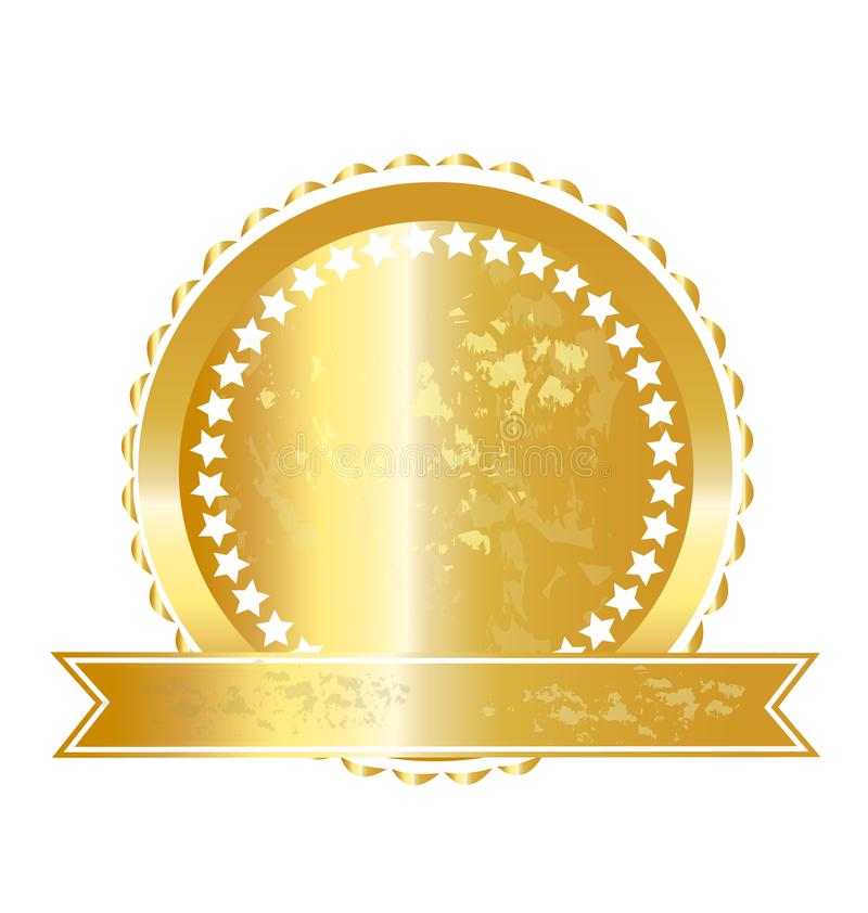 Icona del marchio di etichetta dell'oro illustrazione di stock