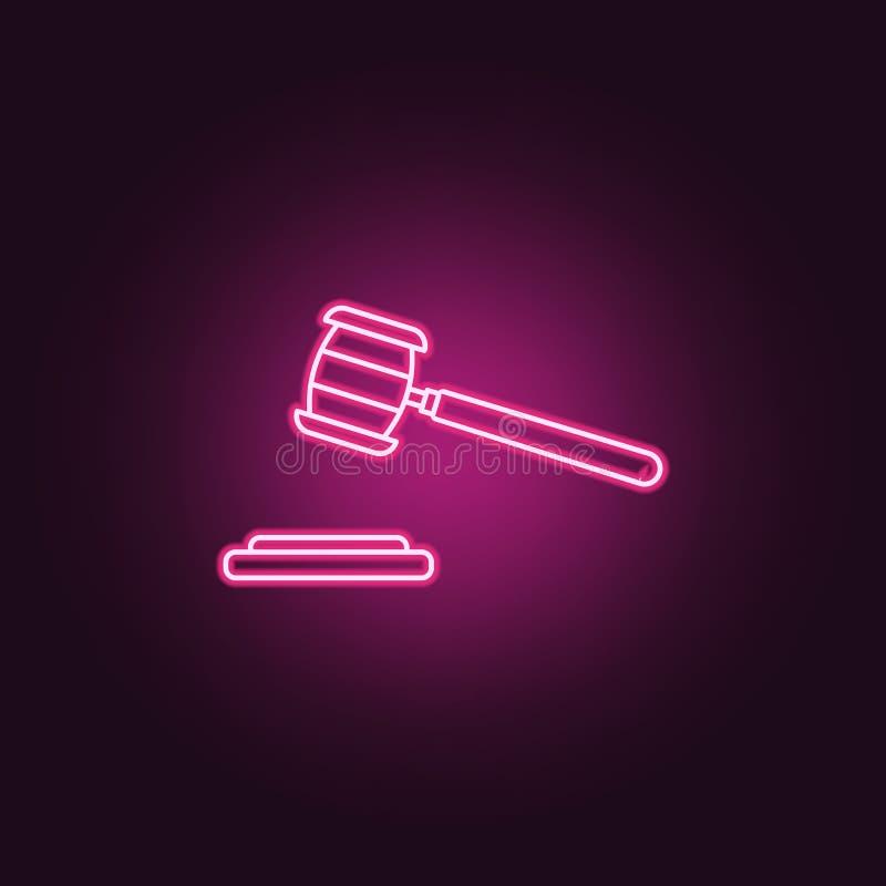 icona del martello della corte Elementi di ricerca di crimine nelle icone al neon di stile E illustrazione di stock