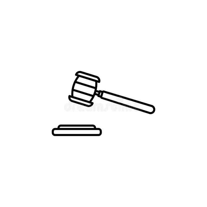 icona del martello della corte Elemento dell'icona di punizione e di crimine per i apps mobili di web e di concetto La linea sott illustrazione di stock