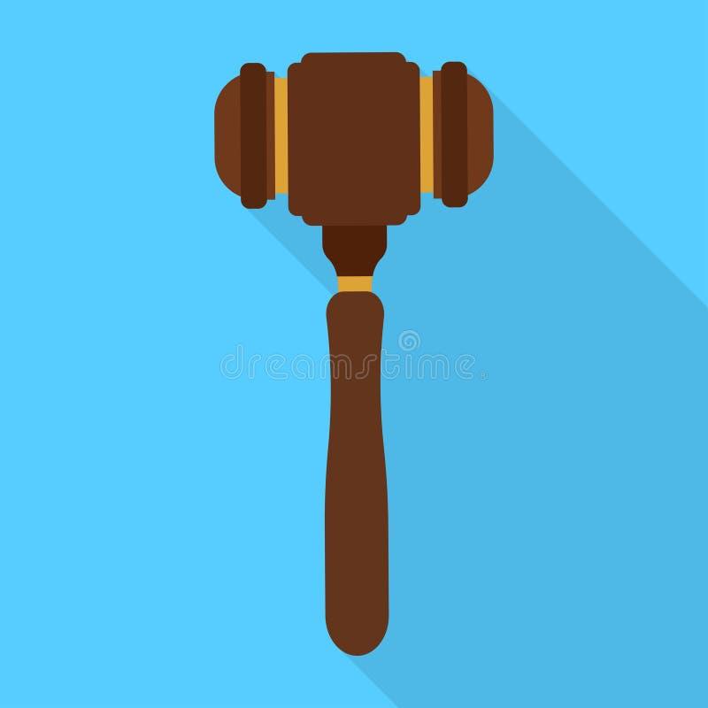 Icona del martello del giudice di divertimento Progettazione piana illustrazione di stock