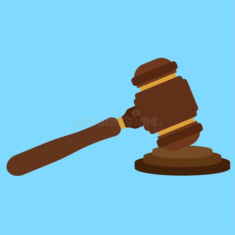 Icona del martello del giudice di divertimento Progettazione piana illustrazione vettoriale