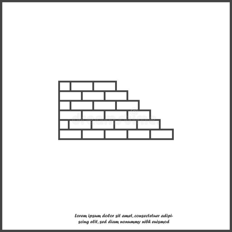 Icona del mattone di vettore Illustrazione di muratura Icona del muro di mattoni su fondo isolato bianco illustrazione di stock
