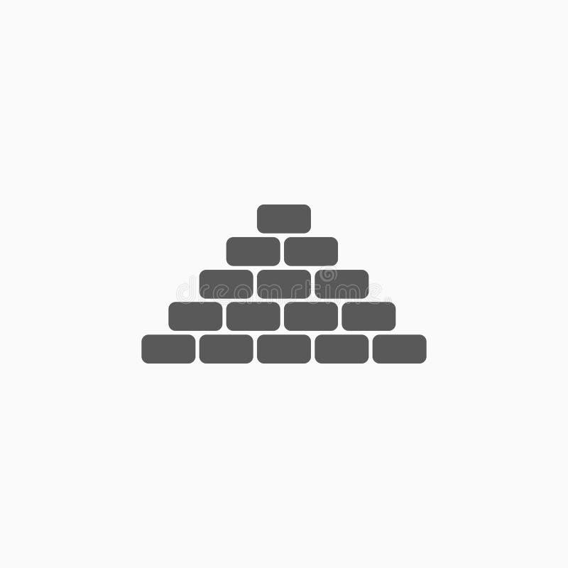 Icona del mattone, oro, pietra, muro di mattoni illustrazione di stock