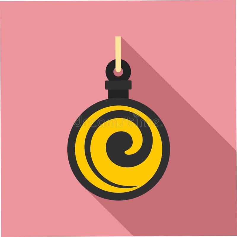 Icona del medaglione di ipnosi, stile piano illustrazione di stock