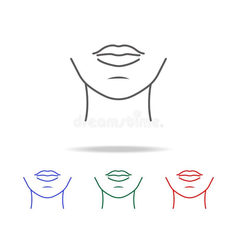 icona del mento della donna Elementi di multi icone colorate delle parti del corpo umane Icona premio di progettazione grafica di royalty illustrazione gratis