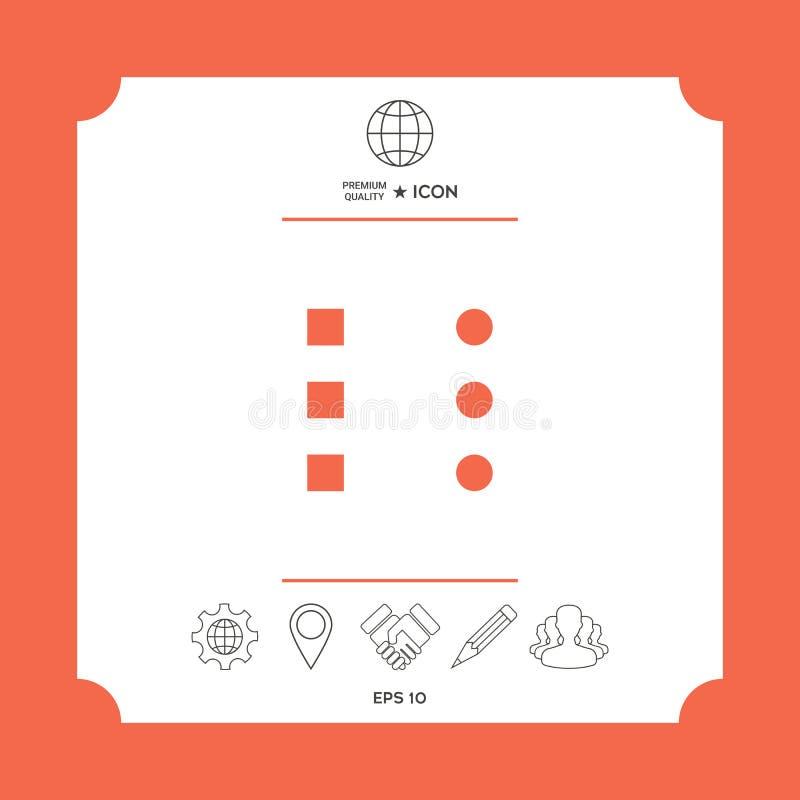Icona del menu per i apps ed i siti Web mobili illustrazione vettoriale