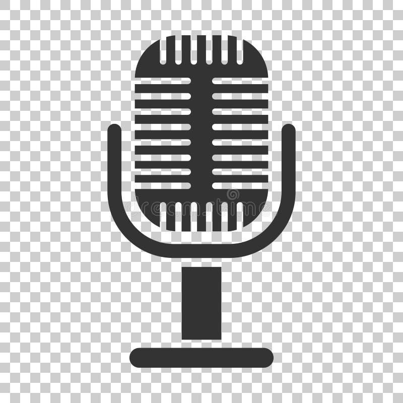 Icona del microfono nello stile piano Illustrazione di vettore di radiodiffusione del Mic illustrazione vettoriale