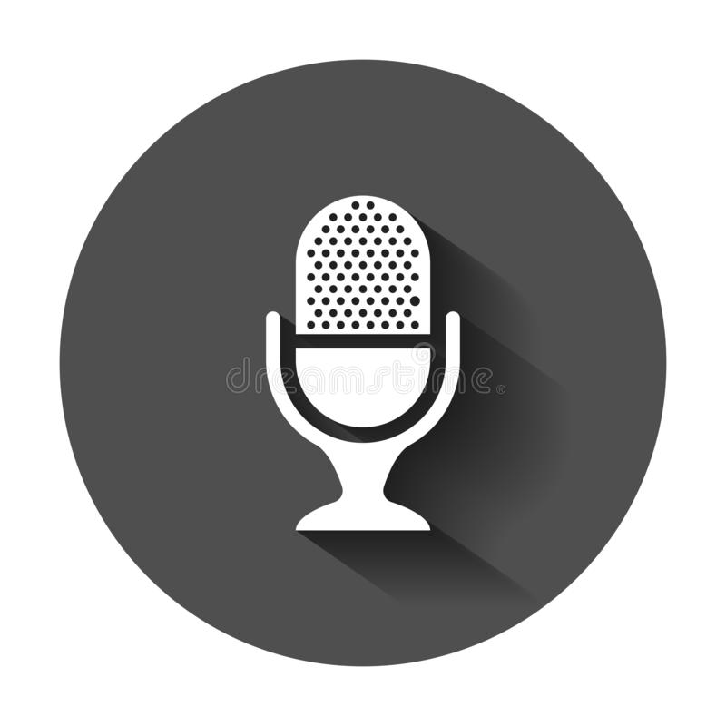 Icona del microfono nello stile piano Illustrazione di vettore di radiodiffusione del Mic illustrazione di stock