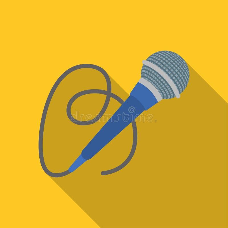 Icona del microfono nello stile piano isolata su fondo bianco Illustrazione di vettore delle azione di simbolo di servizio di eve illustrazione di stock