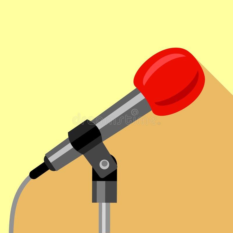 Icona del microfono, stile piano illustrazione di stock