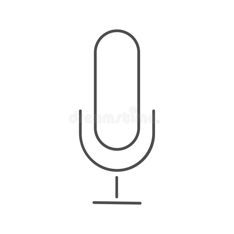 Icona del microfono, vettore dell'icona del microfono, nello stile piano d'avanguardia isolata su fondo bianco immagine dell'icon illustrazione vettoriale