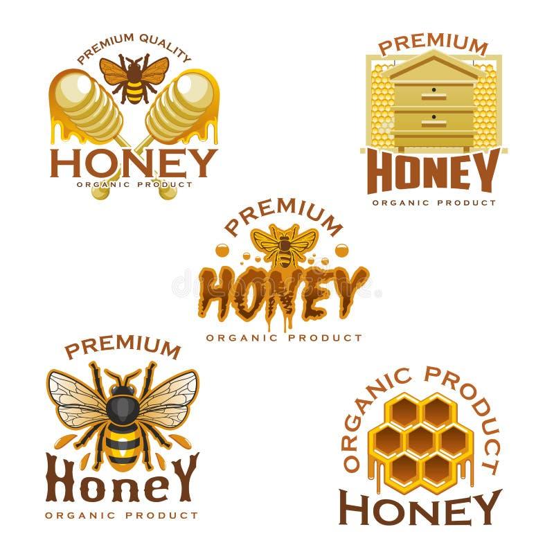 Icona del miele con l'ape, il favo, l'alveare ed il merlo acquaiolo illustrazione di stock