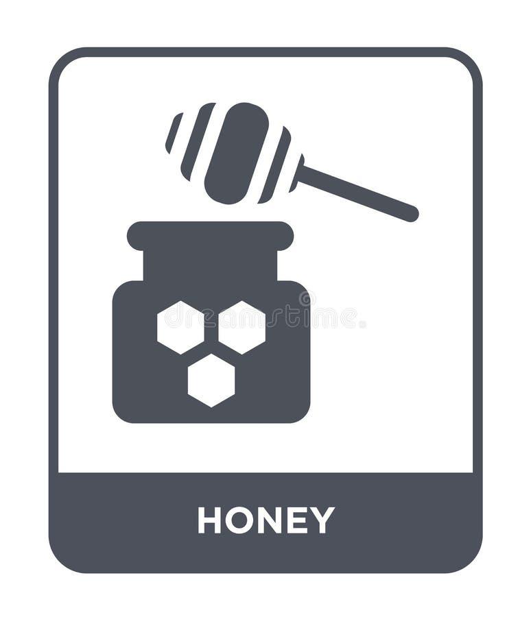 icona del miele nello stile d'avanguardia di progettazione Icona del miele isolata su fondo bianco simbolo piano semplice e moder royalty illustrazione gratis
