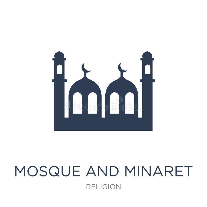 Icona del minareto e della moschea Moschea di vettore e minareto piani d'avanguardia i illustrazione di stock