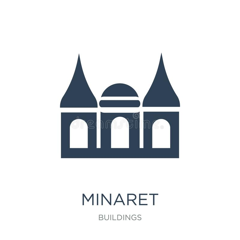 icona del minareto nello stile d'avanguardia di progettazione icona del minareto isolata su fondo bianco simbolo piano semplice e royalty illustrazione gratis