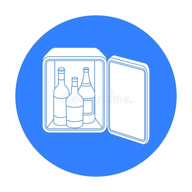 Icona del minibar nello stile nero isolata su fondo bianco Illustrazione di vettore delle azione di simbolo dell'hotel royalty illustrazione gratis