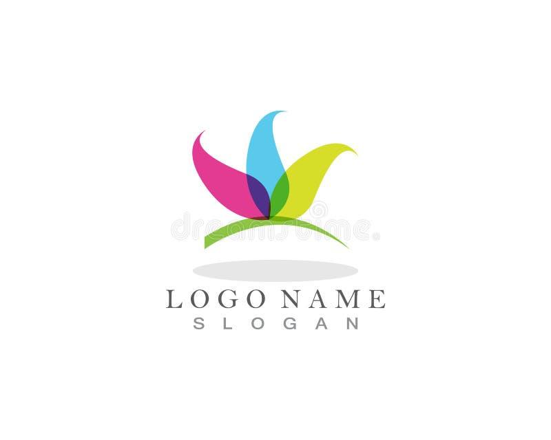 Icona del modello di logo di progettazione dei fiori di vettore di bellezza illustrazione di stock