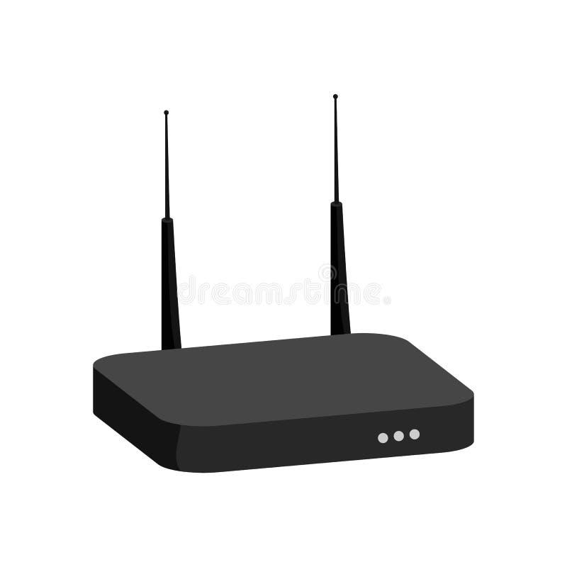Icona del modem, stile monocromatico nero illustrazione di stock